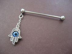 Dangle Industrial Barbell Upper Ear Piercing Blue by Azeetadesigns, $15.00