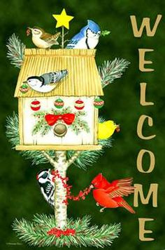 welcome holiday birds house flag - Decorative Christmas Flags