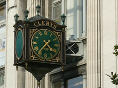 Clock at Clery's Department Store on O'Connell Street in Dublin