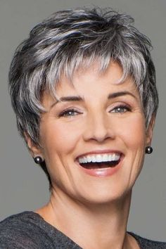 Incentive by Eva Gabor Wigs - Lace Front, Hand Tied, Monofilament Wig - Aktuelle Damen Frisuren Short Grey Hair, Short Hair With Layers, Short Hair Over 60, Gray Hair, Layered Hair, Short Pixie Haircuts, Short Hairstyles For Women, Hairstyles 2016, Black Hairstyles