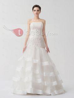 ストラップレスマーメイドオーガンザレースアップコートトラインウエディングドレス