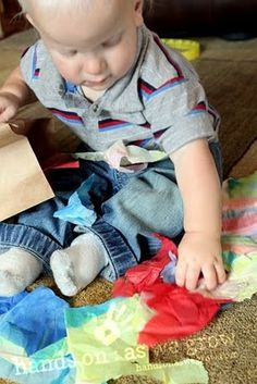 Toddler Activity : Tissue Paper Bag - - Pinned by #PediaStaff.  Visit http://ht.ly/63sNt for all our pediatric therapy pins