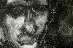 close up monoprint -sadness self portrait