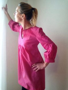 Dress+or+Tunic++My+Garden++pink+fushia+with+white+by+IsabelAmyo,+$148.00