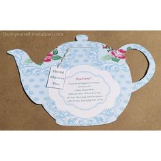 Tea Party Teapot Victorian Blue Floral by DoItYourselfInvites