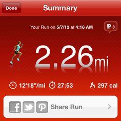 5/6/12: Part 1: 2.2 mile run+ 75 squats, 12 squat thrust+ 30 side burpees.