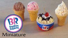 Cake cones w/ x-acto grip. ~~~ Baskin Robbins Inspired Polymer Clay Ice Cream Tutorial [fidgity, not simple] Dollhouse Miniature Tutorials, Miniature Crafts, Miniature Food, Fimo Polymer Clay, Polymer Clay Miniatures, Barbie Food, Doll Food, Diy Clay, Clay Crafts