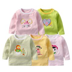 Full Sleeve Babies Clothing Cartoon Animal T-Shirt Little Girl Outfits, Toddler Outfits, Baby Boy Outfits, Trendy Outfits For Teens, Pink Bodysuit, Girls Coming Home Outfit, Shirt Price, Cool Baby Stuff, Colorful Shirts