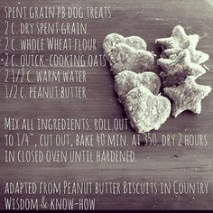 Recipe for spent grain peanut butter dog treats. If you don't have spent grain, talk to your local brewer or substitute the same amount of whole wheat flour.  #craftbeer