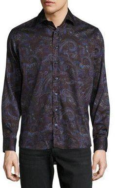 Etro Multi Paisley-Print Long-Sleeve Sport Shirt, Purple