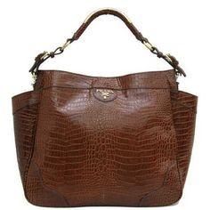 Prada Vitello Daino Side Pocket Hobo Bag Croco Veins Leather Coffee