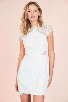 Keepsake Daydream Lace Mock Neck Mini Dress - Urban Outfitters