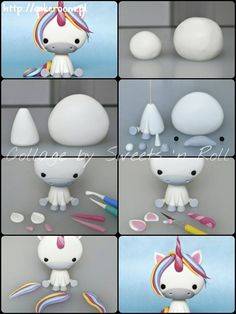 Polymer Clay Animals Polymer Clay Figures Fondant Figures Cake Topper Tutorial Fondant Tutorial Fondant Toppers Fondant Cakes Create Yourself Create Your Own Fondant Cake Toppers, Fondant Figures, Fondant Cakes, Party Unicorn, Unicorn Birthday Parties, Rainbow Unicorn, Cake Topper Tutorial, Fondant Tutorial, Fondant Animals