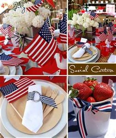 4th of July decorations - like the white pot with ribbon around it!