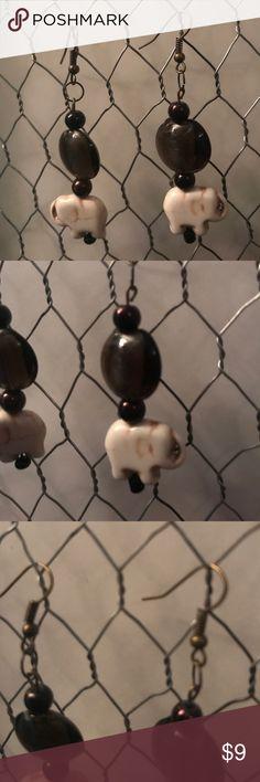 Ganesha Elephant Earrings Handmade glass beads are a deep wine color Jewelry Earrings