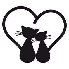 Chat Stylisé, Chat Pour, Dessin Chat, Amour Dessin, Idée Dessin, Chats Amoureux, Chats Noirs, Groupe Garderie, Formes Silhouettes