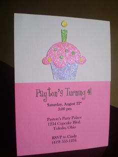 Cupcake Party Invitation Catie By ScrapYourStory On Etsy
