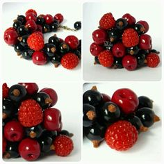 Berries bracelet from polymer clay. Handmade. Author Polynastudio
