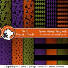 Spooky Halloween Digital Papers for Scrapbook Pages, Distressed Textured Halloween Scrapbook Pages with Witches Spiders & Stripe Patterns