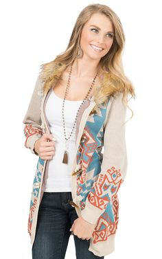 Flying Tomato Women's Beige with Aztec Print & Fur Hooded Sweater | Cavender's