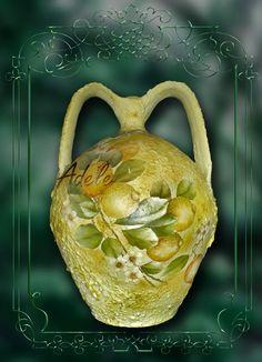 Anfora decorata con decoupage classico e sfumature pittoriche