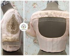 Bling it on! More ideas with Vanitha on how you can change the boring saree game to exciting blouse combining game. Beautiful pale pink color designer blouse with hand embroidery kundan and bead work. Classy unique tassels on back of blouse. 07 April 2018