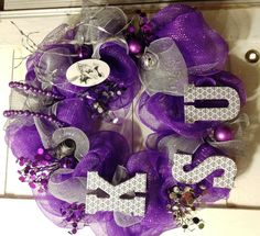March Madness - make a wreath for your door to represent your team!   KSU K-State Willie Mesh Deco Wreath purple silver white
