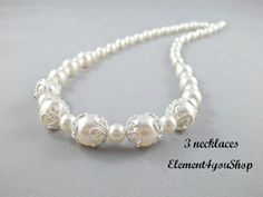 This listing is for 3 necklaces, with 6% discount already applied. Each necklace cost $32    Made with all Swarovski pearls mix with silver