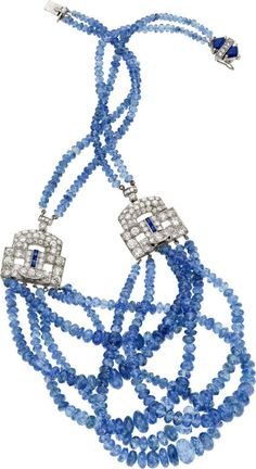 Sapphire, Diamond, White Gold Necklace sapphire beads, featuring European-cut diamonds weighing a total of approximately 2.60 carats, enhanced by single-cut diamonds weighing a total of approximately 1.00 carat, accented by baguette-cut sapphires; completed by a clasp trimmed with shield-shaped sapphires weighing a total of approximately 1.00 carat, and single-cut diamonds; all set in 14k white gold. Total diamond weight is approximately 3.70 carats. Gross weight 64.50 grams.