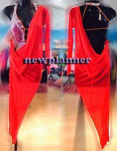 Women Competition Rhythm Salsa Rumba Ballroom Dance Dress US 4 UK 6 Red Sliver