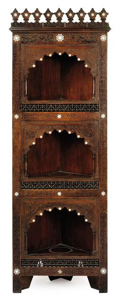 MOTHER-OF-PEARL AND BONE INLAID HARDWOOD CORNER CABINET