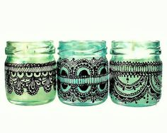 Set of Three Moroccan Inspired Mini Jar Candles- Green Glass with Black Lace Detailing