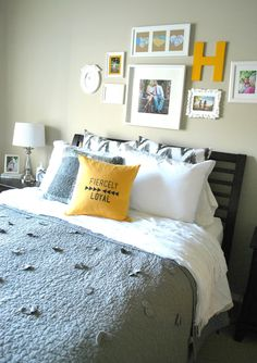Yellow and Grey Master Bedroom. above the bed picture placement.