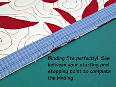 Easy trick to perfectly join quilt binding - So Sew Easy - Dress Models Machine Binding A Quilt, Quilt Binding Tutorial, Sewing Binding, Bias Binding, Quilting Tips, Quilting Tutorials, Hand Quilting, Quilting Projects, Hexagon Quilt