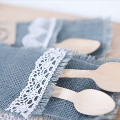 Set of 6 grey hessian cutlery holders, worked of with thick cotton lace ruffled edges Lace Ruffle, Cotton Lace, Hessian, Burlap, Cutlery Holder, Online Gifts, Budget Wedding, Event Decor, Twine
