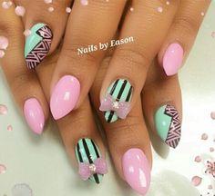 Mint purple bow nail design