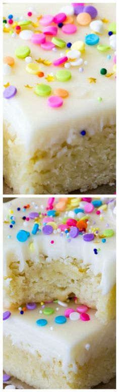 Sugar Cookie Bars ~ Buttery-soft sugar cookie bars topped off with a sweet buttercream frosting and plenty of colorful sprinkles!