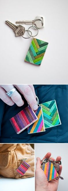 A colourful wooden key ring makes a nice little gift. You could paint straight onto the wooden tags (rather than smaller sticks), using tape to make straight lines....