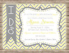 Grey and Yellow Chevron Preppy Bridal Shower Invitation!