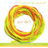 "5 silk ribbons ""fruits"" seidenbänder Mischung Früchte"