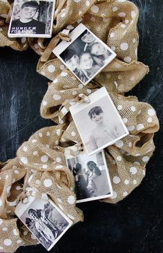 Burlap Photo Wreath - cute way to display childhood or dating photos of bride and groom