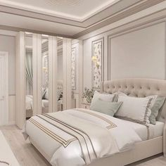 Nightstands, beds, side tables, cabinets or armchairs are some of the luxury bedroom furniture tips that you can find. Every detail matters when we are decorating our master bedroom, right? Luxury Bedroom Furniture, Master Bedroom Interior, Home Decor Bedroom, Bed Furniture, Luxury Bedding, Furniture Ideas, Wood Bedroom, Colorful Furniture, Marble Bedroom