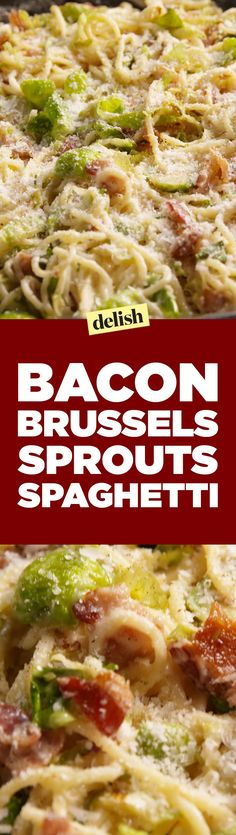 Bacon Brussels Sprouts SpaghettiDelish Spaghetti Recipes, Pasta Recipes, Dinner Recipes, Cooking Recipes, Healthy Recipes, Zoodle Recipes, Cooking Rice, Appetizer Recipes, Pasta Dishes