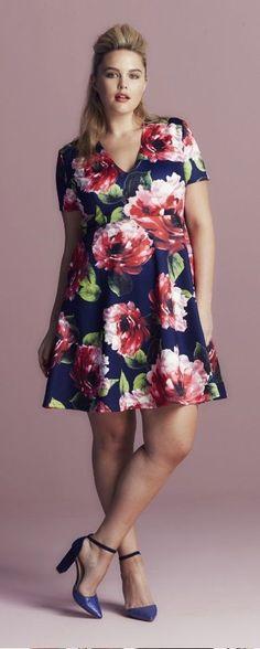 Plus Size Curve Floral Scuba Dress