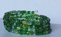 Green Czech Glass Memory Wire Bracelet, Czech Glass Bracelet, Adjustable…