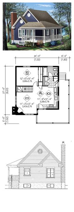Narrow Lot House Plan 49824 | Total Living Area: 613 sq. ft., 1 bedroom & 1 bathroom. This cottage has a stylish look with its large veranda, decorative moldings and sprockets. It measures 24 feet wide by 27 feet deep and has a surface area of 613 square feet. This haven of tranquility has a combination kitchen and dining room and a living room with corner fireplace. #houseplan #narrowlot