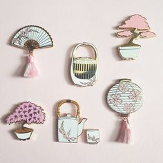 Bundle contains 1 of each of the following pins: ♥ Lantern ♥ Teapot♥ Teacup♥ Hand Fan ♥ Maple Bonsai ♥ Red Bonsai ♥ Cricket Cage Pink and white enamel with som