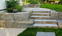 Stufen aus Muschelkalk mit einem schönen Trittmaß wurden in die Natursteinmauer zeitlos eingefügt., passend dazu ein Hochbeet aus Muschelkalk.