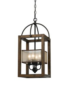 Cal Lighting Four Light Mission Chandelier With Orangza Shade, Dark Bronze/Stained Reddish Brown at MYHABIT