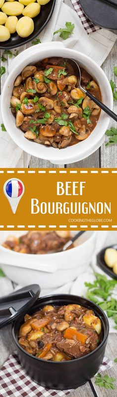 Boeuf Bourguignon is a traditional French beef stew with mushrooms, onions, and…